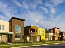 Energy-efficient houses on street in Daybreak, Utah