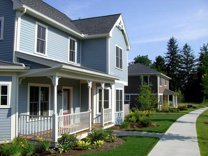 Blue LEED house in Northampton, Massachusetts