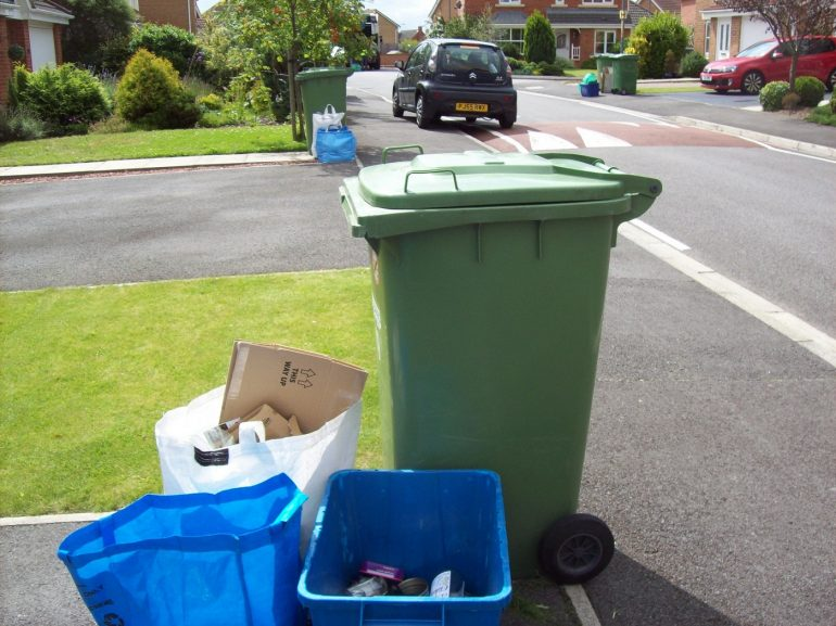 Garbage and recycling at curb - Throw away culture