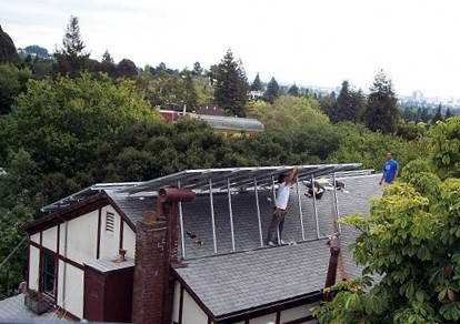 Putting up solar panels on roof