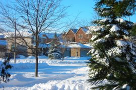 Residential homes in winter in Barrie, Ontario - Canadian homeowners and the domicile