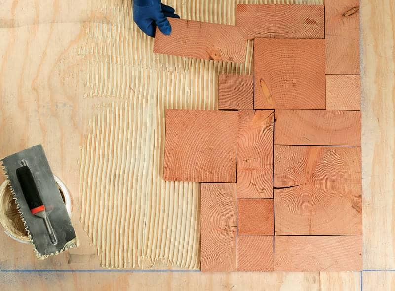 Laying tiles in quadrants - End grain flooring