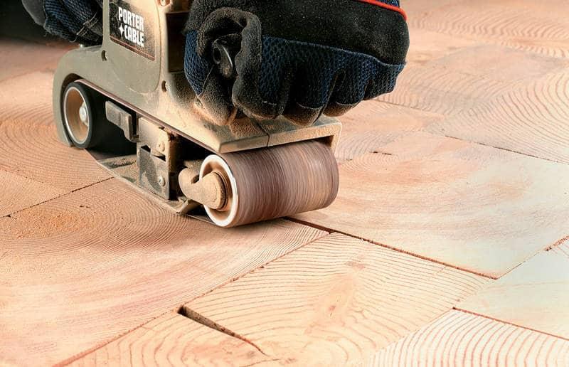 Sanding floor that's been laid - End grain flooring