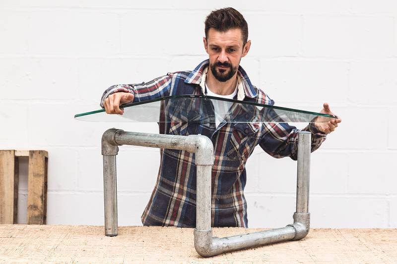 Adding glass top - 2 ways to create a table from discarded scaffolding