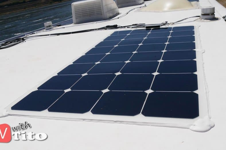 Solar panels mounted on an RV - Electric motorhome