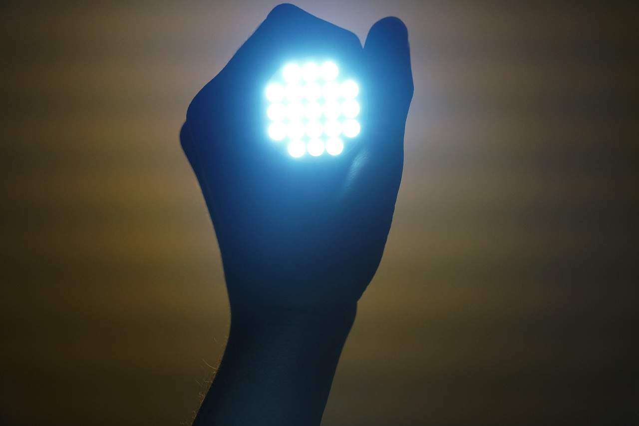 Person holding LED light in hand - High Power 80W Led Corn Light Waterproof Ip65