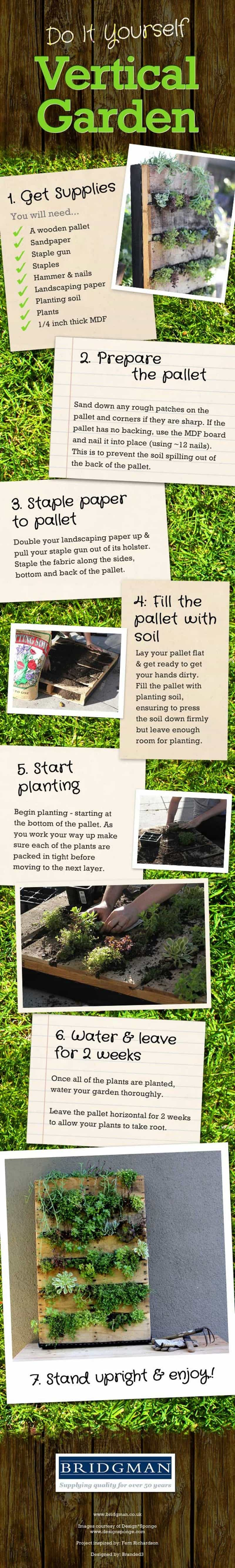 Do-it-yourself vertical garden infographic - Build your own vertical garden in 6 steps