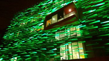 Richard Desmond Children's Eye Center at night - 3 building technologies you can use to decrease energy use